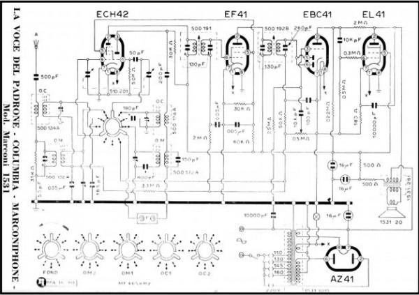 esquema electrico radio Marconi 1531